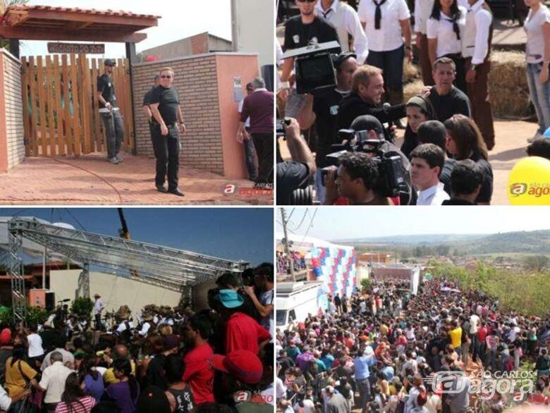 Relembre quando Gugu Liberato esteve em São Carlos para entregar casa a mulher no Aracy -