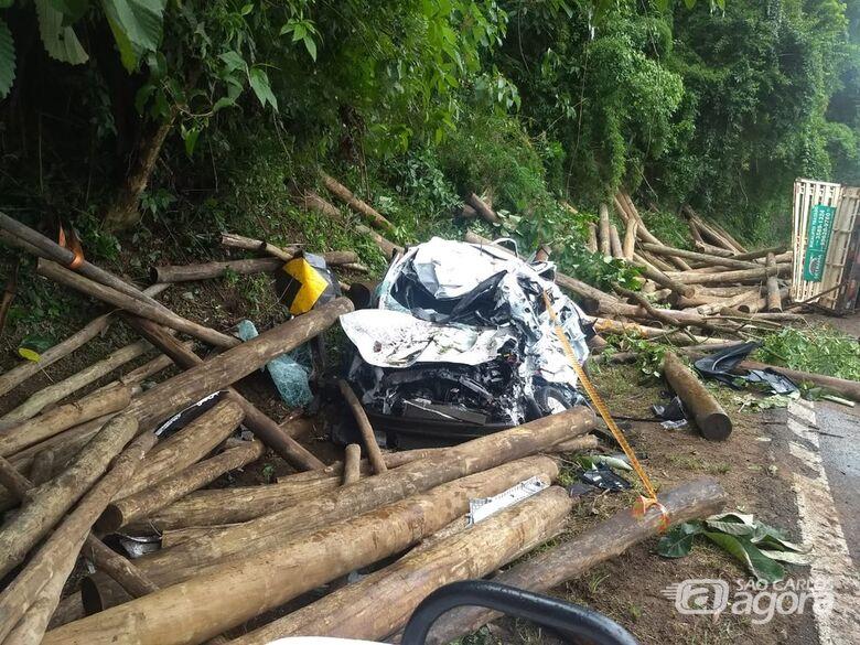 Veículo atingido pelas toras ficou destruído - Crédito: Corpo de Bombeiros