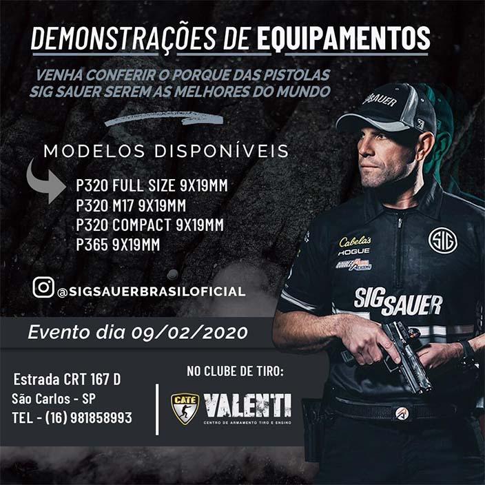 CATE Valenti realiza demonstrações de equipamentos da Sig Sauer - Crédito: Divulgação