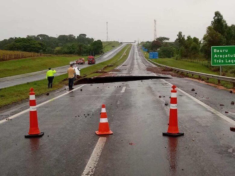 Cratera se abriu na SP-300 - Crédito: Divulgação