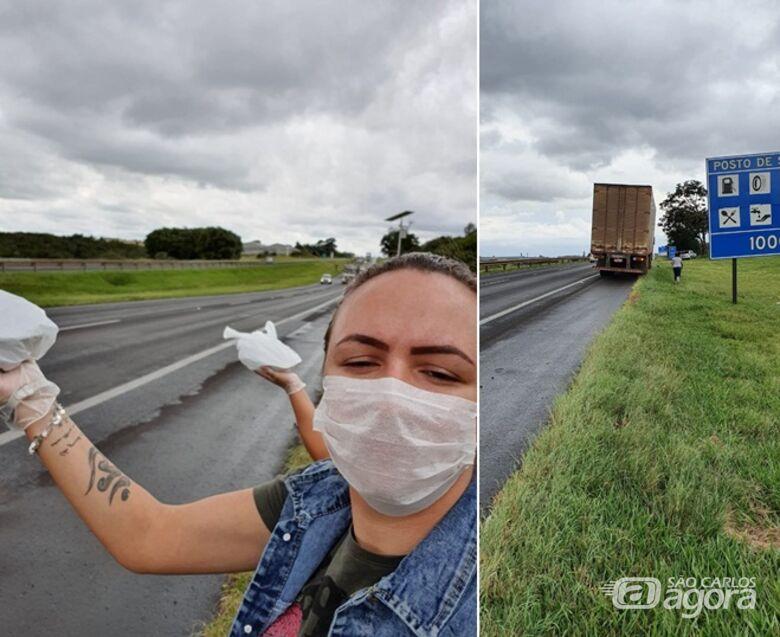 Caminhoneiros com as refeições agradecem: alimento garantido e pé na estrada - Crédito: Divulgação