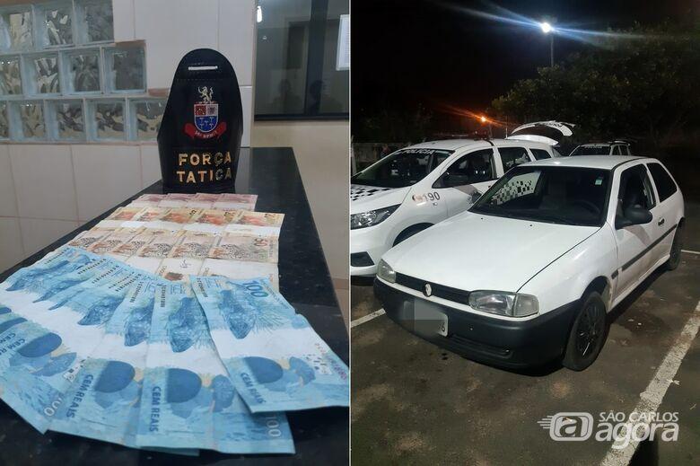 Dinheiro apreendido com os suspeitos após roubo a fazenda - Crédito: Divulgação