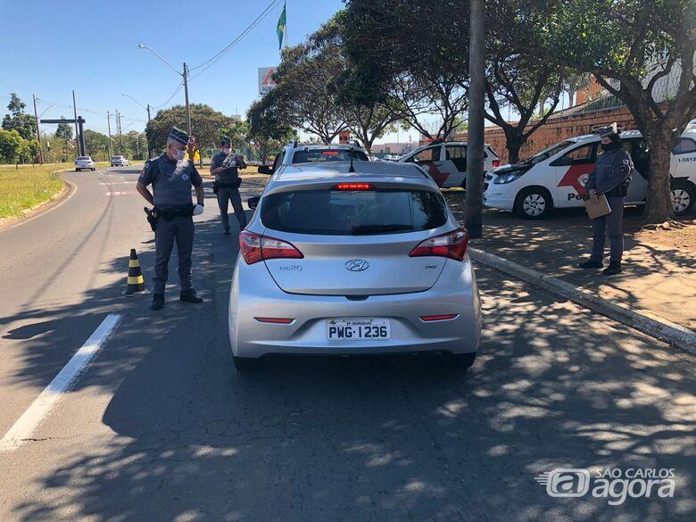 PM realiza operações para combater a Covid-19 em São Carlos - Crédito: Divulgação/PM