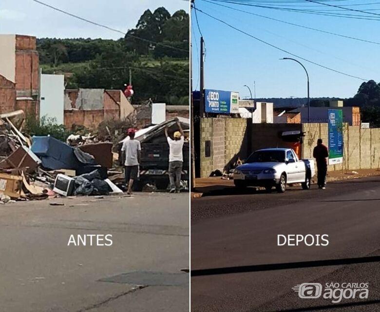 Fotos mostram situação antes e depois no ecoponto do São Carlos 8 - Crédito: São Carlos Agora