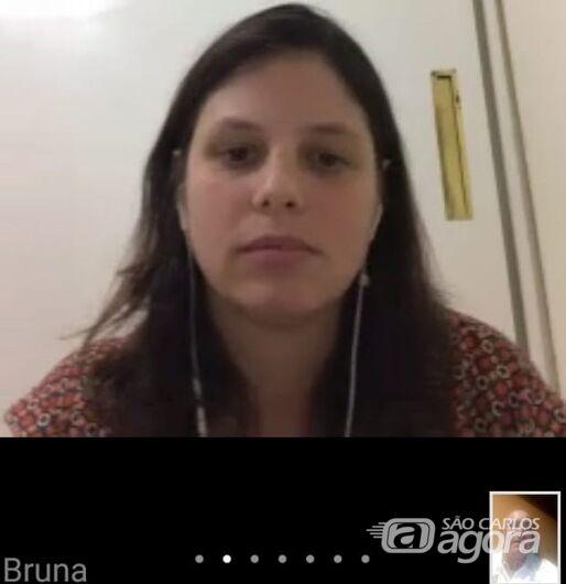 Bruna durante a reunião online: motivação e trabalho emocional com atletas do time ACD de São Carlos - Crédito: Divulgação