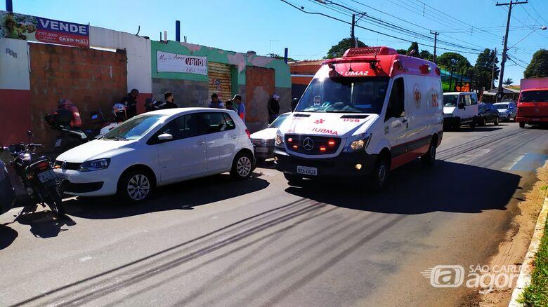 Samu atendeu pai e filho que estavam na moto - Crédito: Maycon Maximino