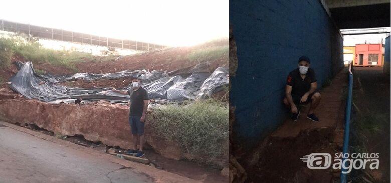 Vereador Rodson solicita término da obra de contenção do muro do pontilhão da Travessa Oito e reparo em calçadas - Crédito: Divulgação