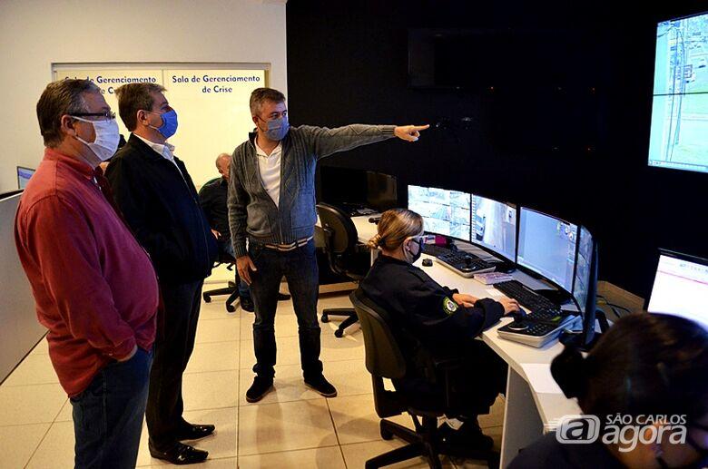 Presidente da Acisc visita Centro de Controle Operacional da Guarda Municipal de São Carlos - Crédito: Divulgação