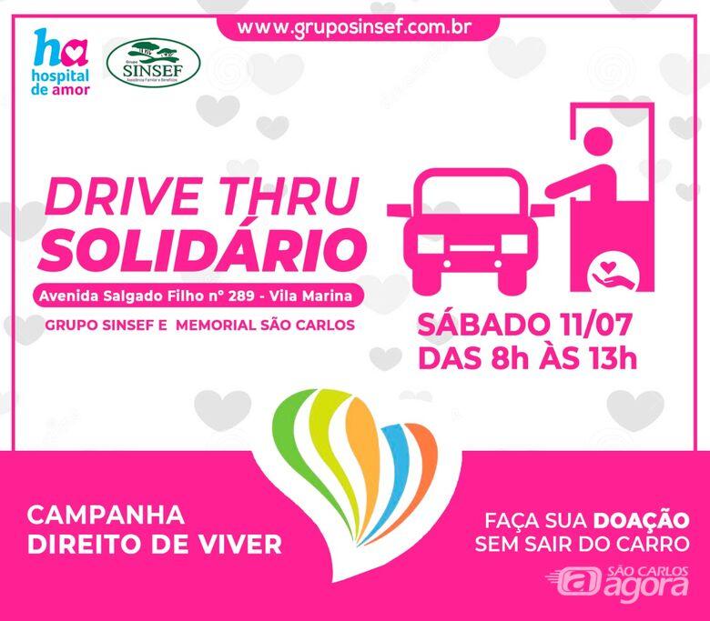 Grupo Sinsef faz drive-thru solidário em São Carlos e irá arrecadar alimentos para o Hospital de Amor - Crédito: Divulgação