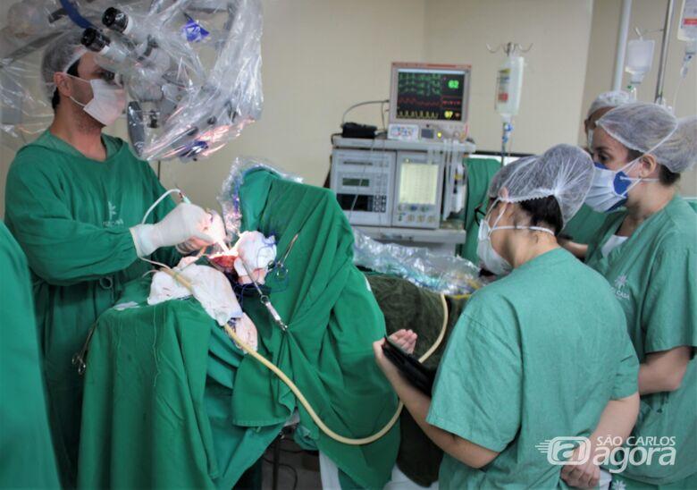 Equipe composta por quase 20 profissionais realiza a cirurgia com paciente acordada na Santa Casa - Crédito: Divulgação