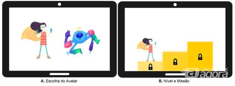 Imagem mostra elementos de jogos que a pesquisadora Laíza Ribeiro Silva utilizou: as crianças com autismo podiam escolher entre dois avatares e havia níveis e missões. O design Henrique Barone cedeu gratuitamente as imagens dos avatares para o projeto - Crédito: Divulgação