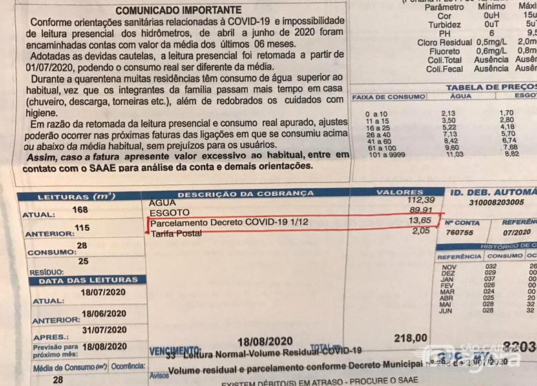 """""""Parcelamento Decreto COVID-19 1/12"""" na conta de água; SCA esclarece - Crédito: Divulgação"""