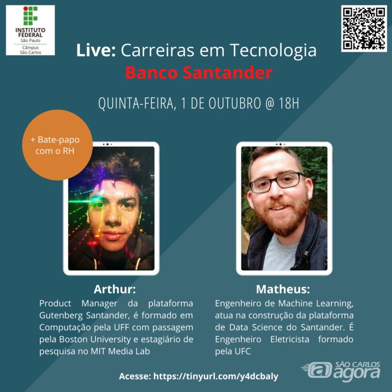 """IFSP São Carlos realizará live sobre """"Carreiras em Tecnologia"""" em parceria com o Santander -"""