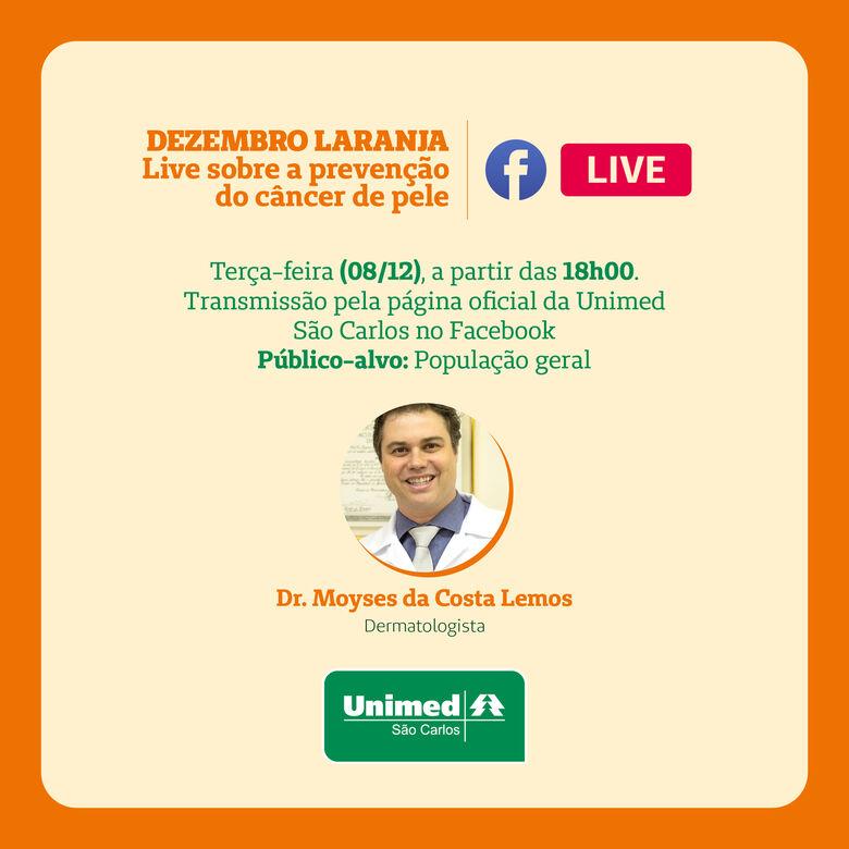 Unimed São Carlos realiza live sobre o Dezembro Laranja - Crédito: Divulgação
