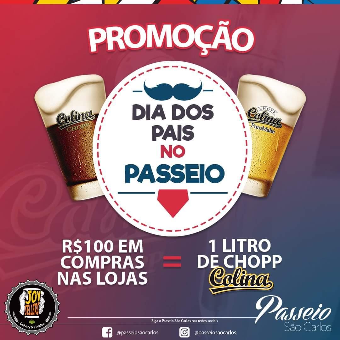 Cliente Passeio São Carlos que acumular R$ 100 em compras ganha 1 litro de chopp