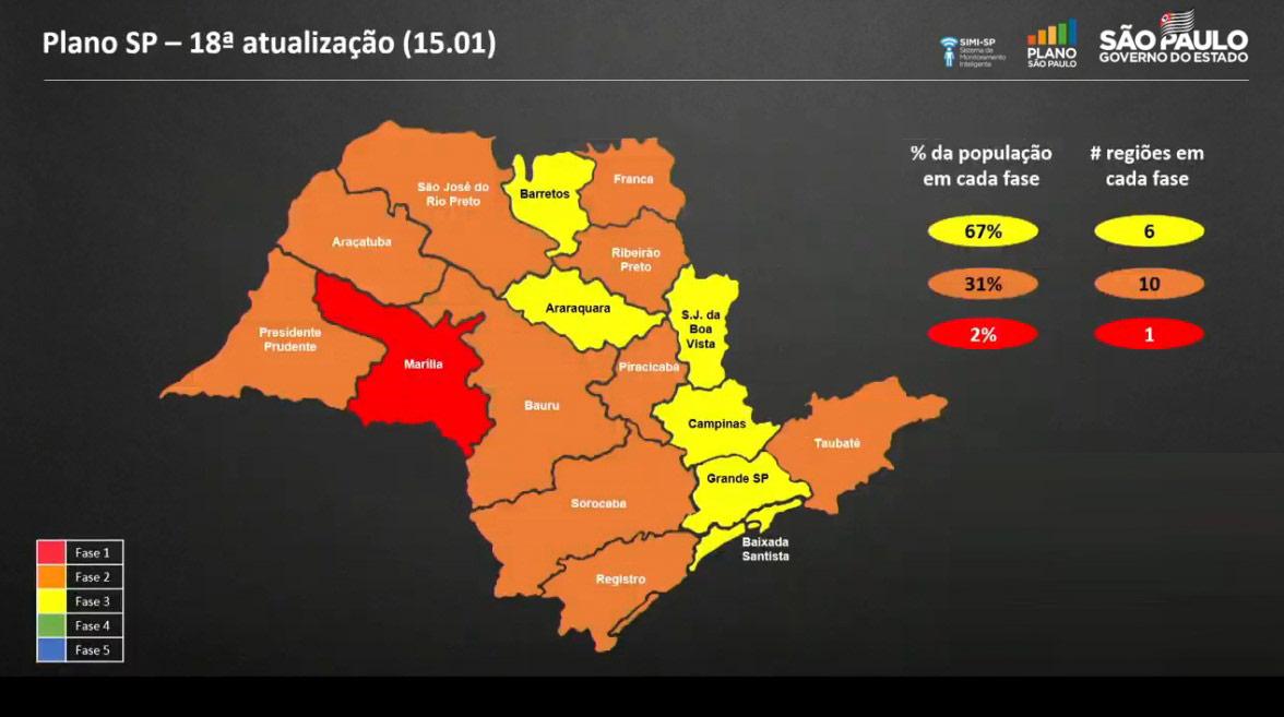 Mapa mostra classificação atual do Plano SP