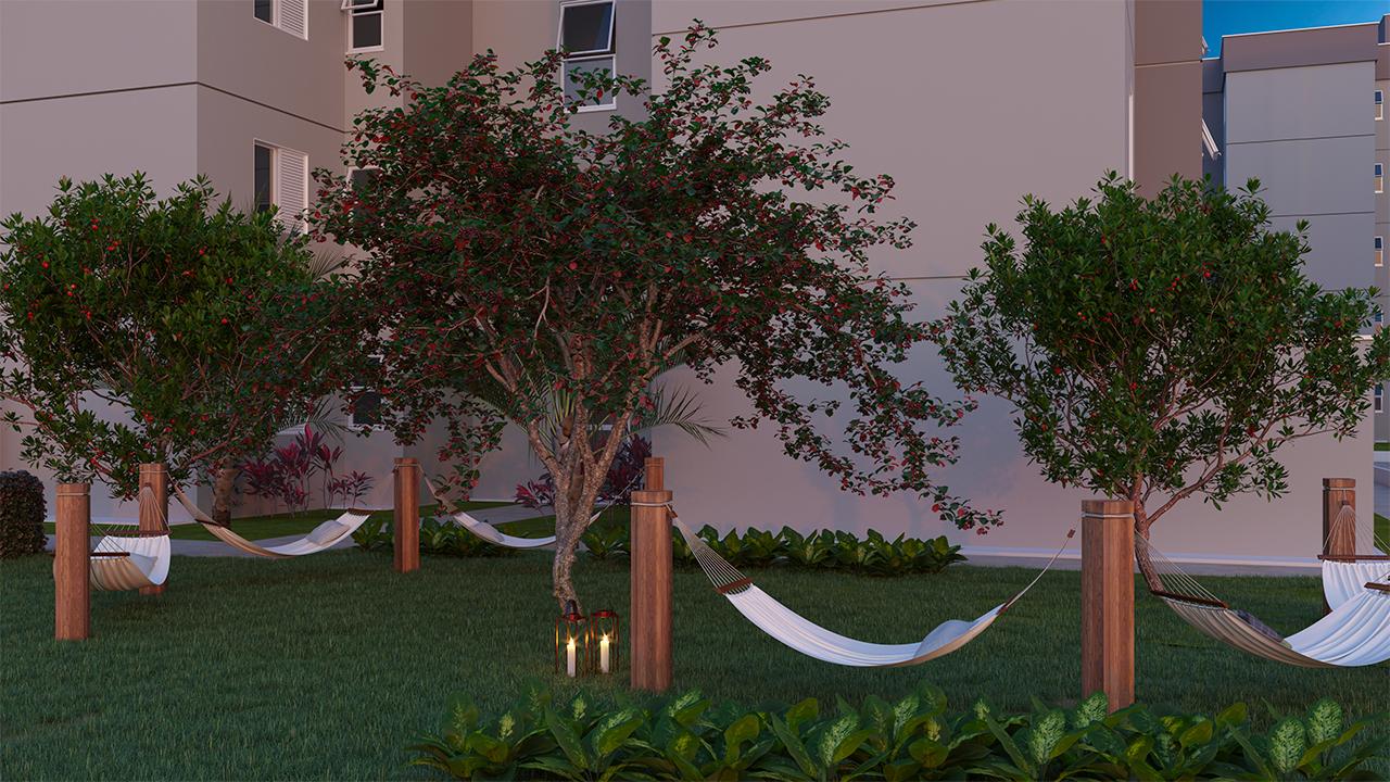A área verde integra os espaços de lazer para oferecer experiências relaxantes para toda a família.