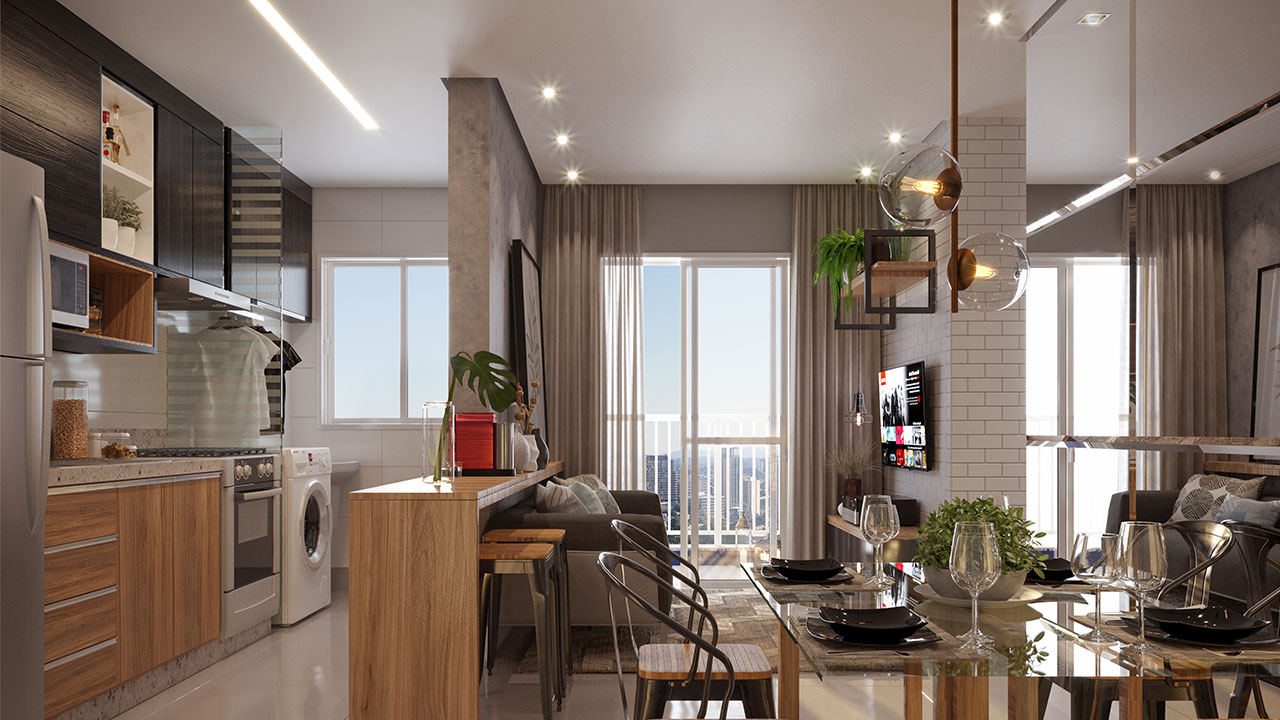 Os apartamentos possibilitam uma composição moderna e adaptável para a necessidade dos clientes