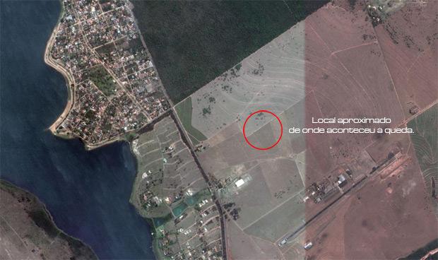 Local onde aconteceu a queda do avião T-28 Trojan. (Google Maps)