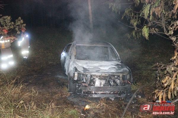 Corpo foi encontrado em veículo em chamas. (foto Luciano Lopes)